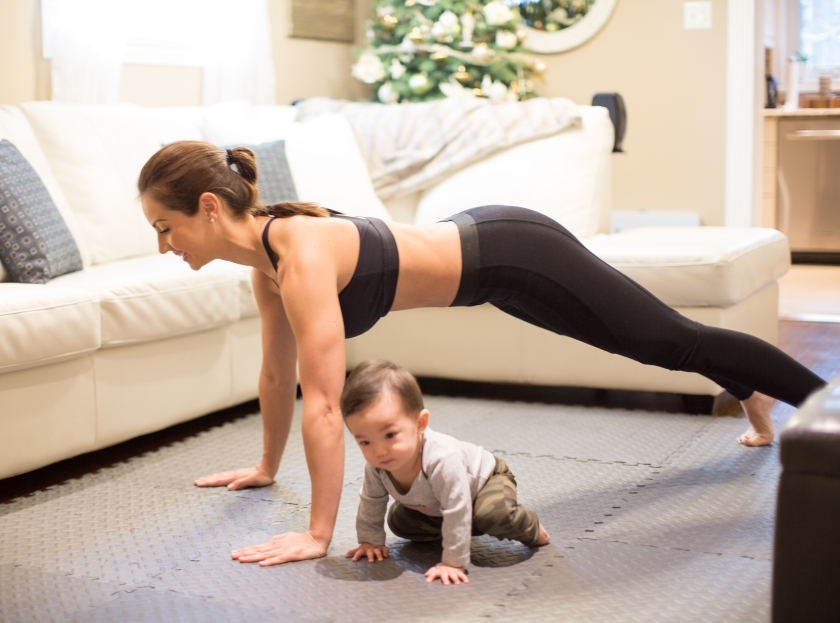Mommy and Jackson push ups